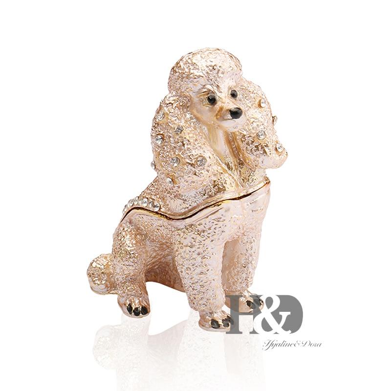 H & D moda de la mujer 2.8 ''Pink poodle baratija anillo hecho a mano titular de regalo baratija para perro amante pantalla titulares (perro)