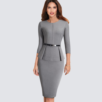 New Arrival Autumn Formal Peplum Office Lady Dress Elegant Sheath Bodycon Work Business Pencil Dress