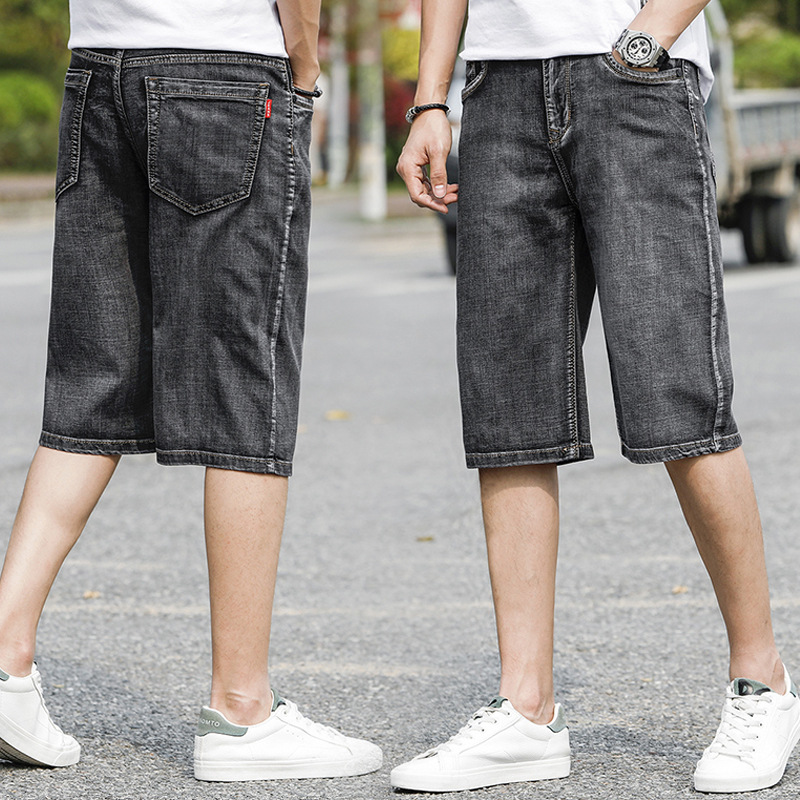 New Fashion Summer Washed Grey Men's  Pants Denim Shorts Men's Jeans Slim Retro Thin Button Casual Shorts Male Plus Size Men
