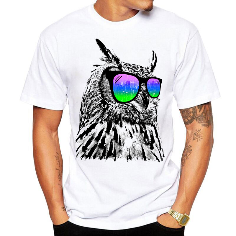 2017 Summer Animal Novelty T shirt Fashion Colorful Owl Design Tops Hot SalesTee T-Shirts casual