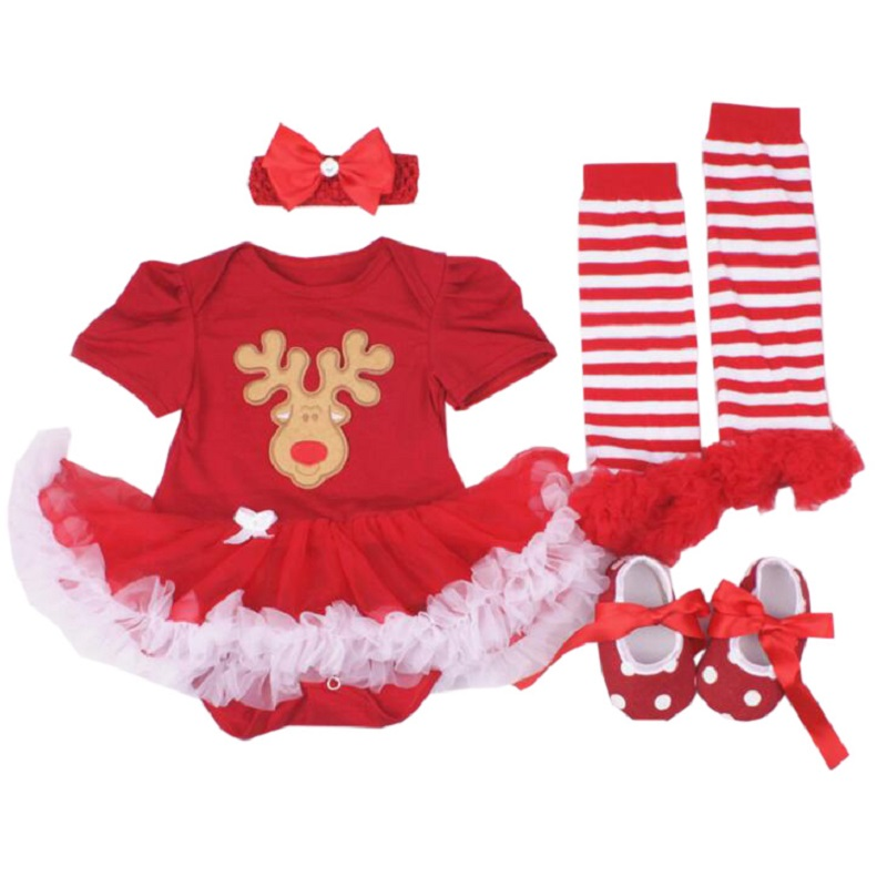 Newborn Infant Baby Girls Clothing Sets Cotton Christmas Baby Rompers Toddler Baby Girl Lace Tutu Dress Bebe Vestido Xmas Suits cotton baby rompers infant toddler jumpsuit lace collar short sleeve baby girl clothing newborn bebe overall clothes h3