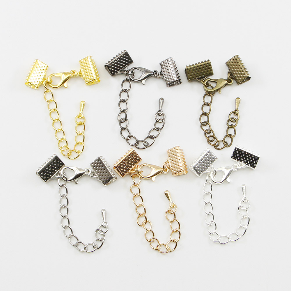 10pcs/lot Cove Clasps Cord End Caps String Ribbon Leather Clip With Chains/Lobster Clasps Connectors Supplies For Jewelry Making