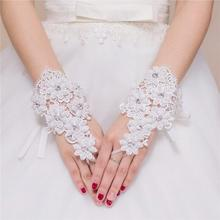 2018 Ivory Lace Wedding Gloves Pearls Beaded Short Wrist Length Fingerless Glove for Bridal
