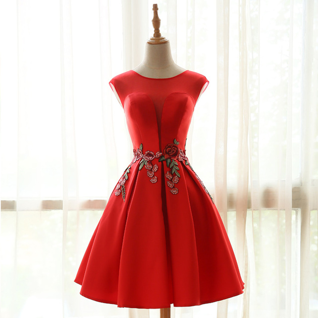 e084e6a26f0 Elegant Red Embroidery Short Cocktail Dresses 2017 Satin Knee Length Lace  Up Back Formal Party Prom Dress Homecoming Dress