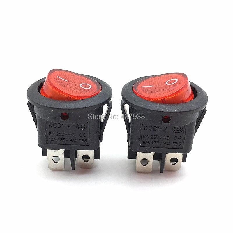 10PCS Red Light 3 Pin ON-OFF SPST Round Boat Rocker Switch 6A//250V 10A//125V AC