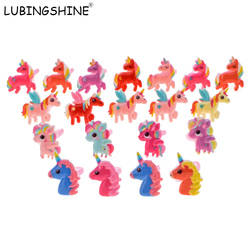 LUBINGSHINE Adjustable Kids Rings Acrylic Jewelry Lovely Animal Unicorn Horse Open Ring For Children Girls 20PCS/Lot