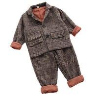 children clothing sets 2018 new kids clothes spring autumn boys suit gentleman plaid wool boys girls blazer suit sets 2 7T 2pcs