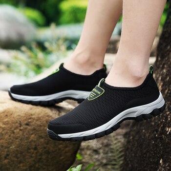 6cbf1096 MAISMODA 2018 hombres verano cómodo zapatos casuales Slip-on transpirable  de malla de aire pisos zapatillas Zapatillas de deporte de agua mocasines  39- 49 ...