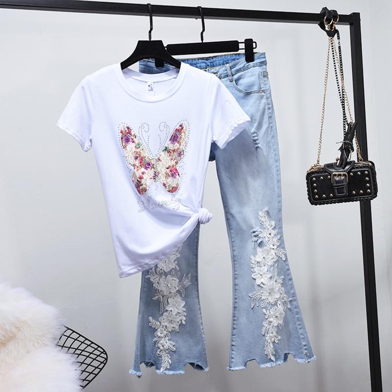 Pantalon Printemps Denim Évasé Papillon 2 2018 Haut Femmes shirt T Jeans Costume Courtes Diamants Manches Nouveaux À Pièces ZBwwAdq