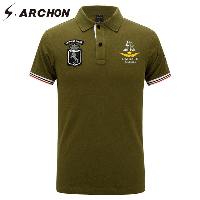S Archon Men Summer Air Force Military Shirt Polo Cotton Casual