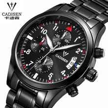 CADISEN Top Brand Fashion Chrongraph Casual Military Quartz Sport Wristwatch Stainless Steel Mens Watches Relogio Masculino