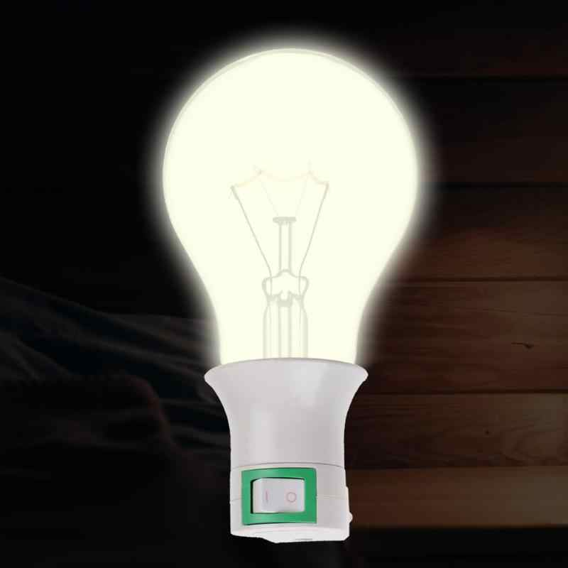 E27 Sekrup Lampu Bohlam Socket Basis Pemegang Plastik Bahan Bracket LED Bohlam Adaptor Konverter Soket dengan Switch
