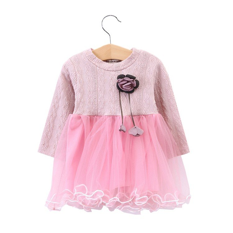 2018 New Baby Girls Dresses Long Sleeve Rose embroidery Dress Party Prom Lace Bebes Kids Clothes Toddler Mine Dress for Girl