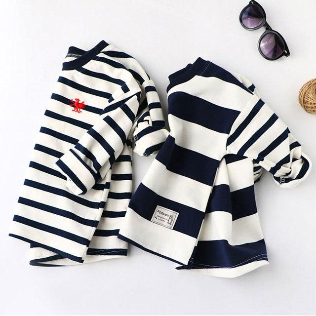 בני אביב נים ילדי כותנה ארוך שרוול סווטשירט פסים מקרית סוודרים ילדים ילד בגדי אופנה O-צוואר חולצות