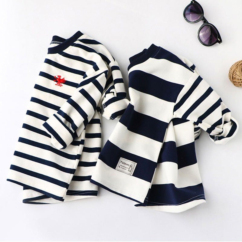 все цены на Boys Spring Hoodies Children Cotton Long Sleeve Sweatshirt Striped Casual Pullover Kids Boy Clothing Fashion O-Neck Sweatshirts