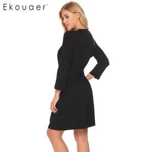 Image 5 - Ekouaer Women Robe Long Sleeve V Neck Lace trimmed Nighties Belt Sleepwear Robes Bathrobe Gowm Dressing Female Homewear