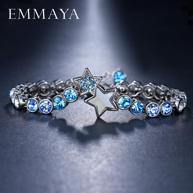 EMMAYA Light blue Crystal Round chain Bracelets Bangles For Women Fashion Design Cheap Women Jewelry