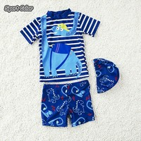 Popular Blue Kids Swimsuit Quality Boys Baby Swimwear Two pieces Bath Suit Infant Lovely Dinosaur Children Beachwear 2 10Y