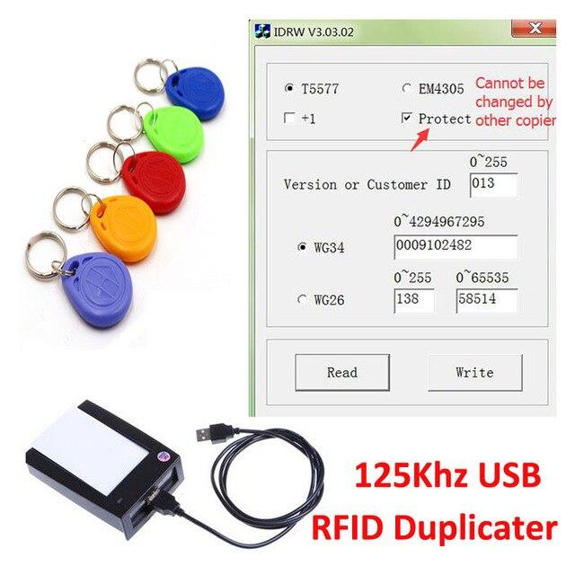 US $19 98 |125Khz USB RFID Duplicater Cloner Copier Reader Writer +Software  + 5pcs EM4305 T5577 Writable Tokens Key fob for Access Control-in Control