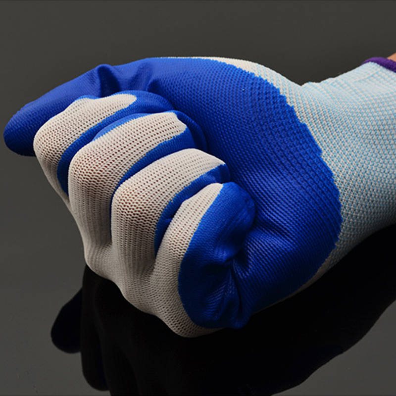 1 Pair Nitrile Coated Gloves Factory Garden Repair Blue Polyester PU Work Safety Gloves Mechanic Working Gloves