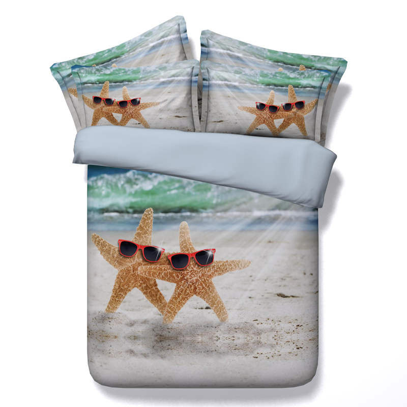 3d printed comforter bedding set quilt/duvet cover bed sheets twin full queen king size 500TC woven starfish sandbeach sea child