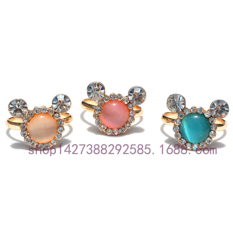 High quality Austria Crystal Opal <font><b>Painted</b></font> Fashion Cartoon Rings for Girls Rose Gold plated Engagement alliance <font><b>Lady</b></font> Jewelry