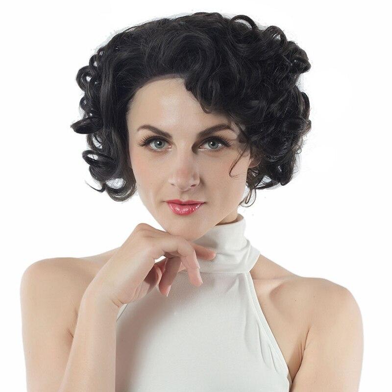 hanne o marrn sinttico peluca delantera del cordn con peines grande spiral curl pelucas
