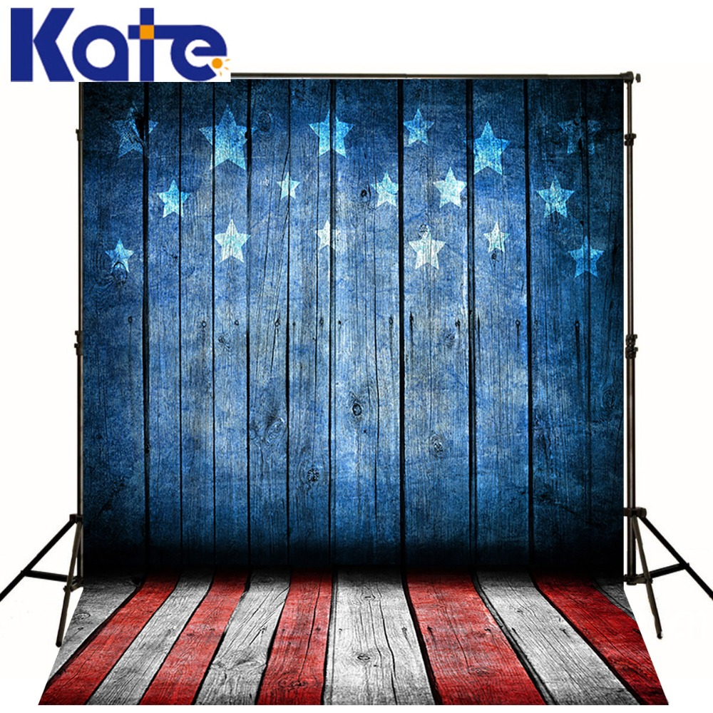 Kate Photo Backdrops Red and White Floor Blue Wood Five stars Backgrounds July 4 US Independence Day Backdrops For Photography
