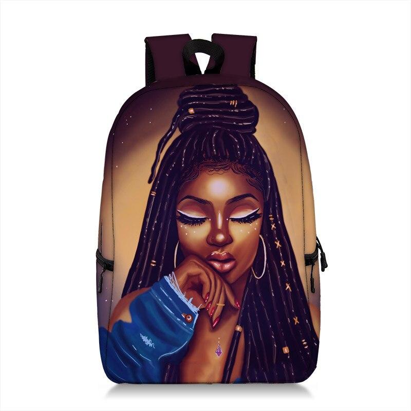 Cartoon Brown Girls Print Backpack For Teenage Afro Girl Children School Bags Women Rucksack Laptop Backpack Bookbag Kid Daypack