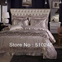 Navio da gota nova chegada 4 pcs algodão de seda cinza flor jacquard bordado folha de cama set capa de edredão conjunto de cama