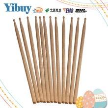 Yibuy 6 Pair Music Band Maple Wood Drum Sticks Drumsticks 5A