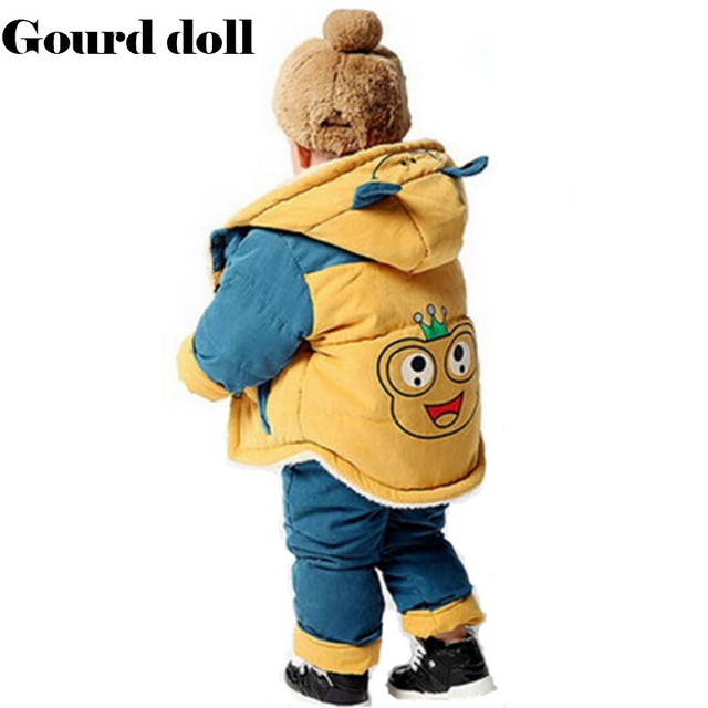 2016 fashion brand baby winter clothes set boys girls Cute Frog thickening Cotton-padded jacket+overalls two pcs suit