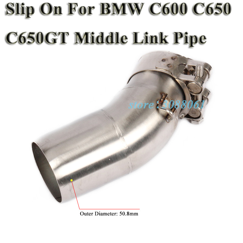 Slip On For BMW C650 C600 C650GT Motorcycle Exhaust Escape Modified Stainless Steel Connection Middle Link Pipe Without Muffler