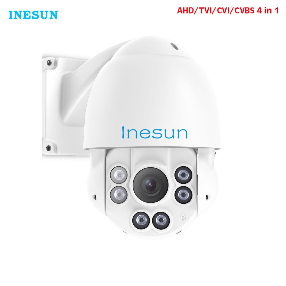 Inesun 4-in-1 HD TVI/AHD/CVI/960H PTZ Security Speed Dome Camera 2MP 1080p 10X Optical Zoom Outdoor Infrared Night Vision 4 in 1 ir high speed dome camera ahd tvi cvi cvbs 1080p output ir night vision 150m ptz dome camera