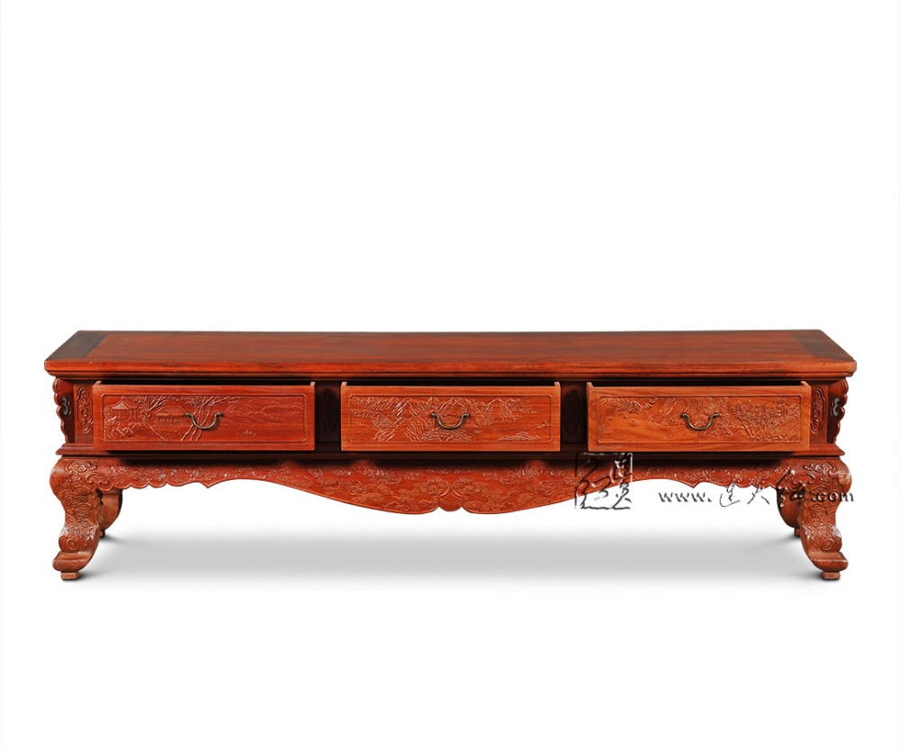 Home Living Room Rosewood Furniture TV Stand Solid Wood Side Tables ...