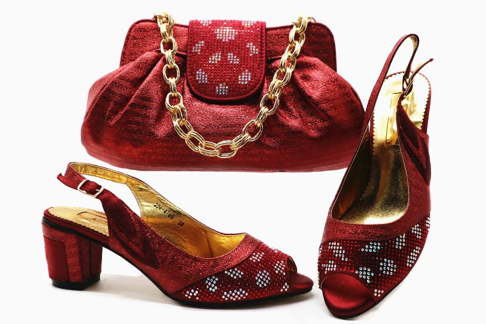 f31b8d244e8 Wine red low heel 2.5 inches sandal shoe and bag matching set italian shoes  and bag