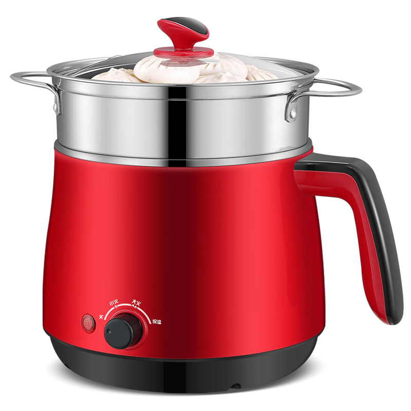 EU Plug Type Household Electric Cooker Heating Pot Water Boiler Kettle Mini Hot Pot With Steam Layer 1.5L Capacity Cooking Pot 1l capacity household electric cooker heating pot steamer and stewer with egg rack electric kettle easy operating