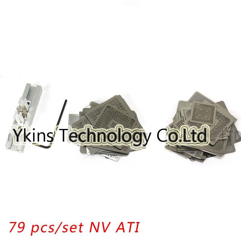 Free shipping 79pcs/set Nvidia/ATI Chip Direct heating VGA Card BGA Stencil BGA Reball Kit Bga Reballing Stencil Kit + BGA Jia