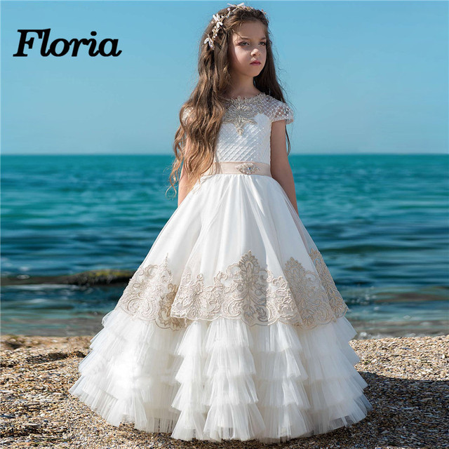 836a54fbcf9a Princess Tiered Flower Girl Dresses For Weddings 2018 New Kids ...