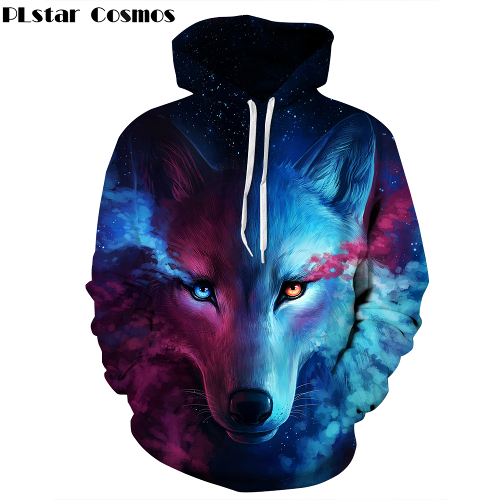 Galaxy Space Wolf 3D Print Hoodies Sweatshirt Men Women Hooded Sweats Tops Hip Hop Unisex Graphic