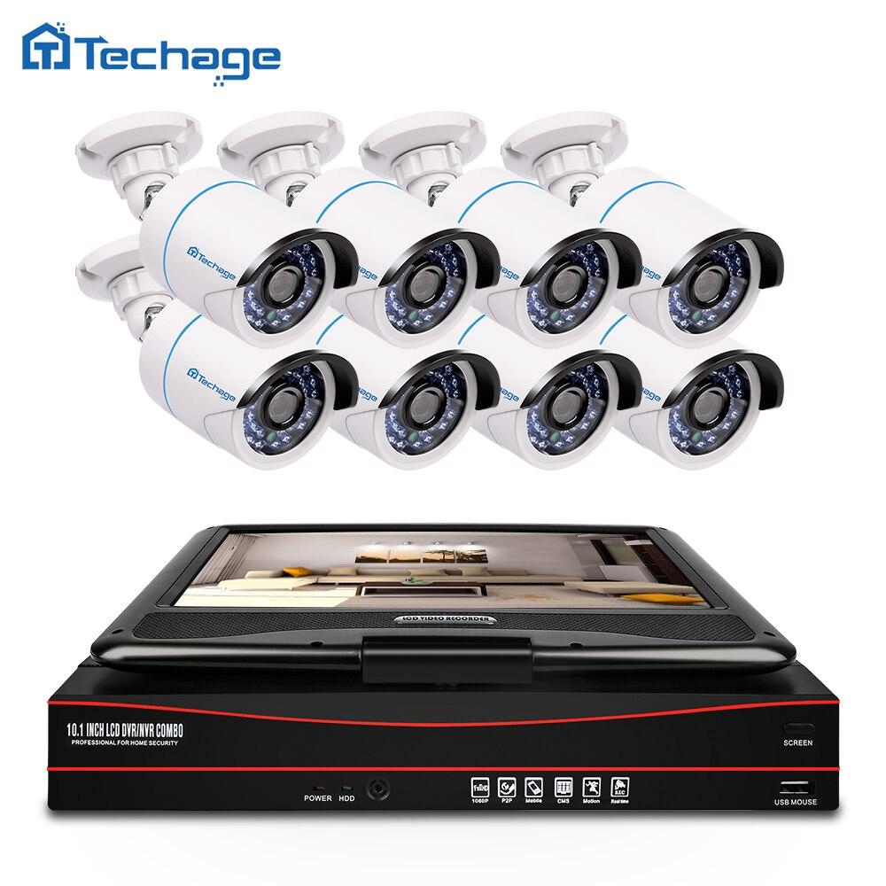 Techage 8CH 1080 P CCTV системы POE NVR комплект с 10,1 ЖК дисплей Мониторы экран 8 шт. Открытый PoE IP камера видеонаблюдения