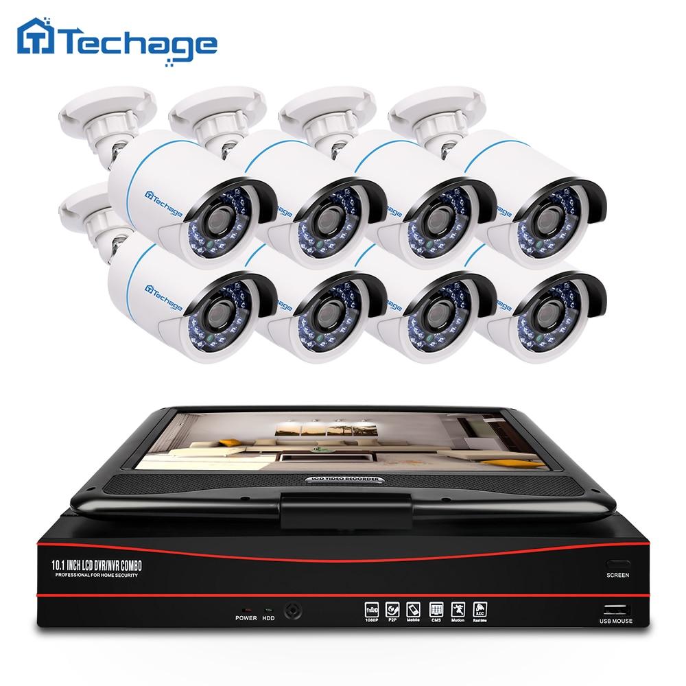 Techage 8CH 1080 P CCTV Système POE NVR Kit avec 10.1 LCD Moniteur Écran 8 PCS Extérieure PoE IP Caméra de Surveillance de Sécurité Kit