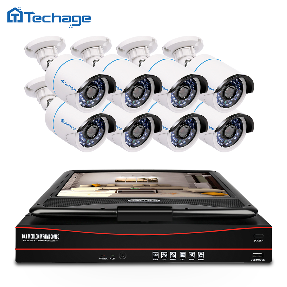 Techage 8CH 1080P CCTV System POE NVR Kit With 10 1 LCD Monitor Screen 8PCS Outdoor