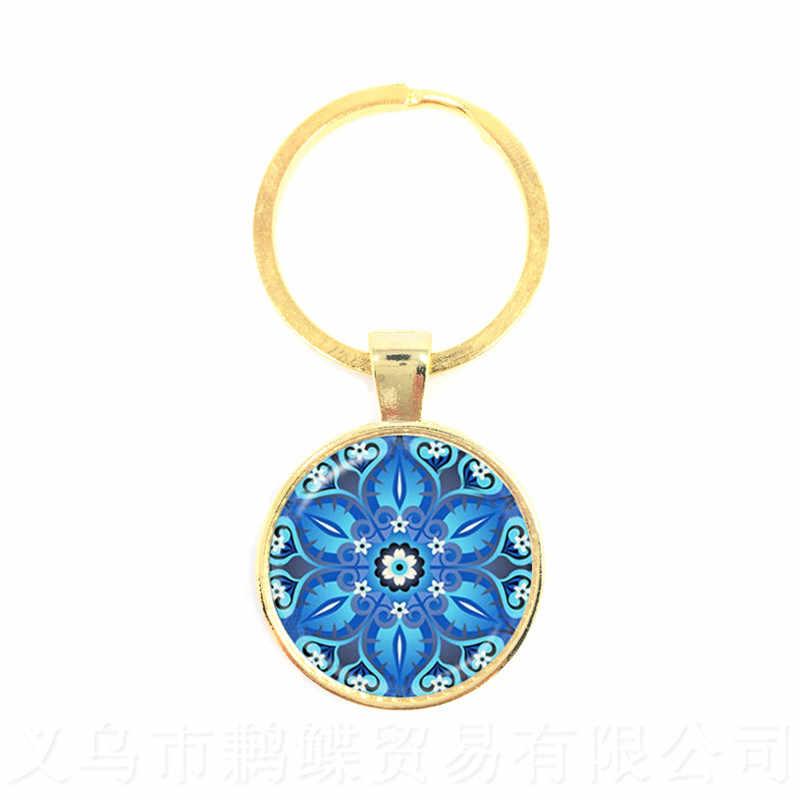OM/AUM Chaveiro Artesanal Azul Mandala Datura Flor Símbolo Da Arte Jóias de Vidro Da Foto Chaveiro Infinito Amor E Vingança