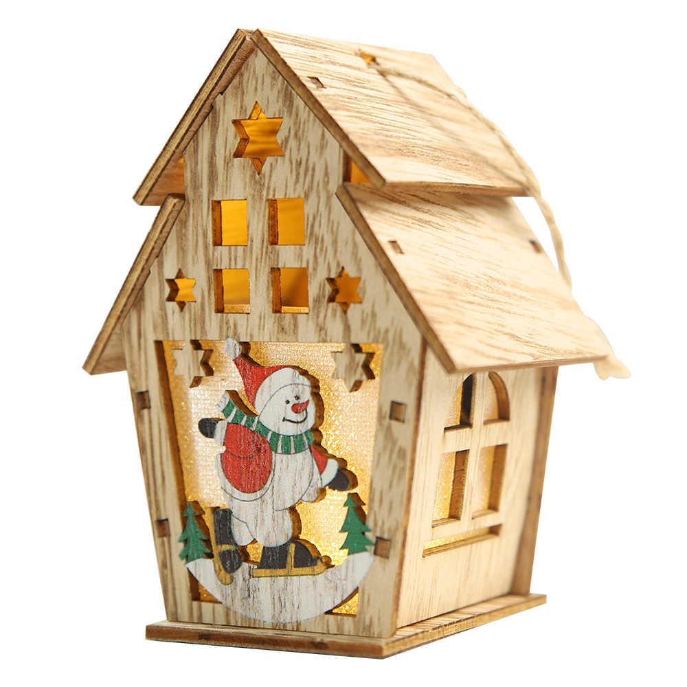 DIY Led Licht Holz Haus Weihnachten Baum Dekoration Elch Santa Klausel Schneemann Hängen Anhänger Frohe Weihnachten Dekor für Home