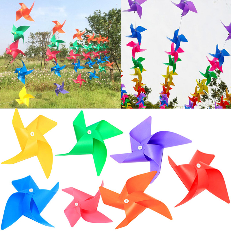50pcs lot colorful plastic four leaf windmill string string kindergarten party shooting activities decorative windmill toys - Color Games For Kindergarten