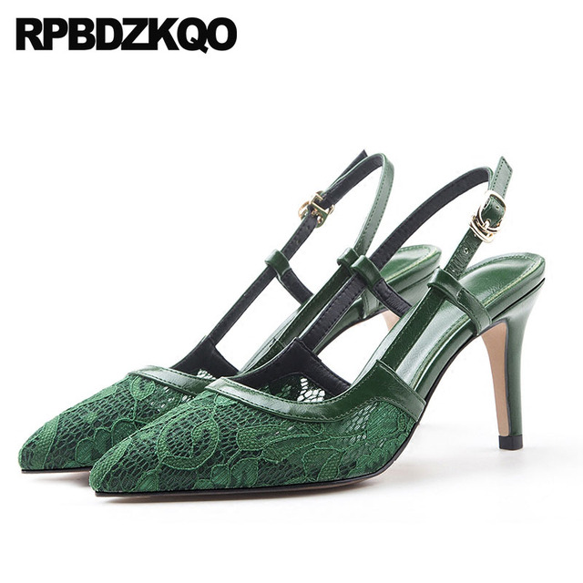 Evening Kitten New 3 Inch 12 44 Lace Pumps Slingback Sandals 11 43 Plus Size  Prom bd74fee8416d