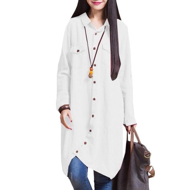 туника женская Большие размеры 3XL 4XL 5XL блузка с длинным рукавом рубашки для женщин Длинный топ туники женский нерегулярные подол Кнопка Свободные Повседневное в
