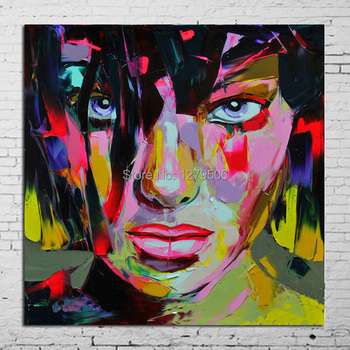 Canvas Painting Francoise Nielly Stree Art Pop Art Oil painting on canvas high Quality Hand-painted Painting Girl Stareing