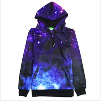 2016 New Thick 3D Galaxy Hoodies For Women Men Beautiful Space Cartoon Fleece Hooded Sweatshirt Fall Winter Clothing Hoody